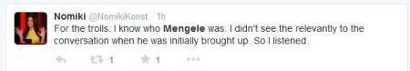 Nomiki Konst Mengele Planned Parenthood OReilly troll