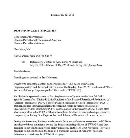 Operation Rescue Planned Parenthood cease decist letter