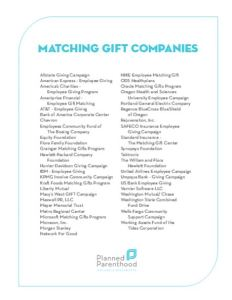 Planned Parenthood Matching Gift Bank of America