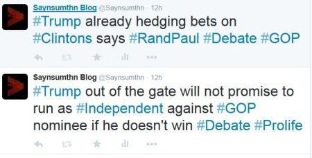 Trump run Independent GOP Debate Rand Paul