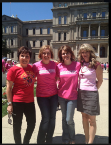 Renee Chelian with supporters outside Michigan Capital