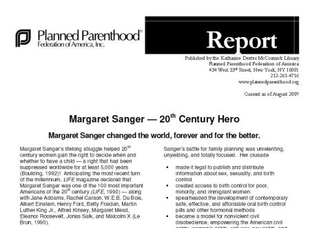 Planned Parenthood margaret sanger hero