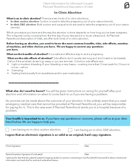 PLanned Parenthood consent form