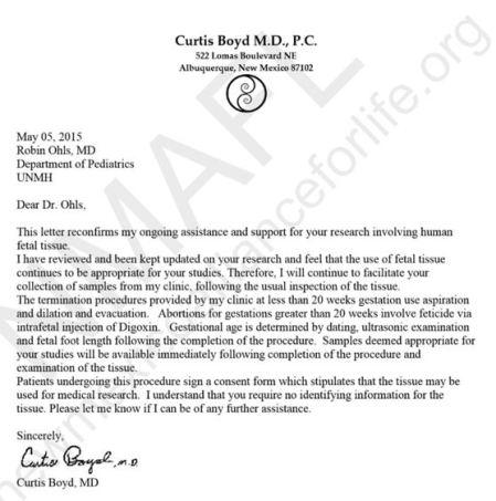Vurtis Boyd UNM letter aborted fetal parts