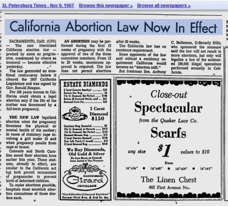 1967 Californoa abortion law ronald reagan