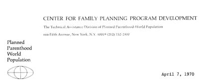 1970 Letterhead from the Center, a division of PPFA