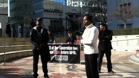 Elaine Riddick speaks about eugenics at pro-life rally