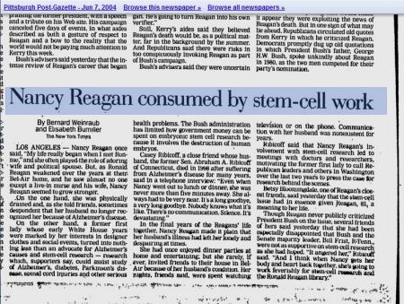 Nancy Reagan embryonic stem cell research