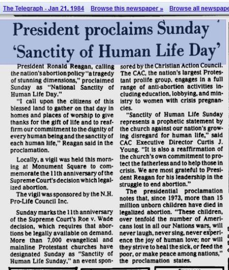 Ronald Reagan sanctity of human life abortion prolife
