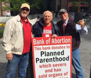 John Pisciotta and Flip Benham Protest BOA for SUpport of PLanned Parenthood