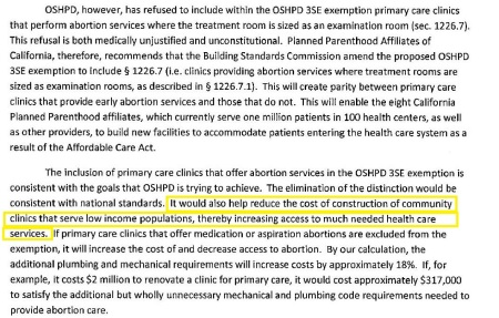 Excerpt of Planned Parenthood letter to OSHPD