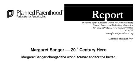 Planned Parenthood Margaret Sanger Racist Heroine