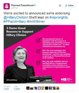 Planned Parenthood ENdorses Hillary