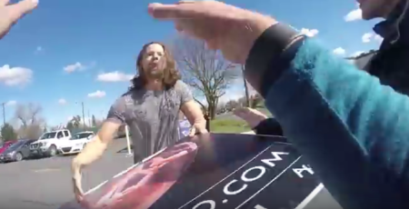 Post abortive man grabs abolitionist sign abortion prolife