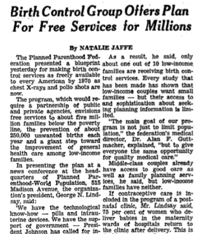 Image: Guttmacher plan to force taxpayers to fund birth control (Image: NYT Birth Control Group Offers Plan For Free Services to Millions 02/10/1966)