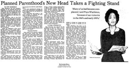 Article about Faye Wattleton elected to PPFA
