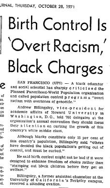 Image: Article: Birth Control is Overt Racism