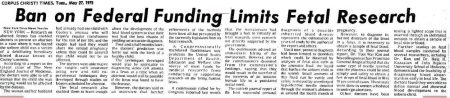 Image: article 1975 Ban funding fetal research (Image credit Corpus Christi Times)