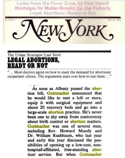 Image: Guttmacher large scale abortion practice NY Magazine May 1970