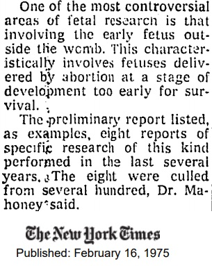 Image: article Hundreds of aborted fetuses delivered outside womb, NYT 1975