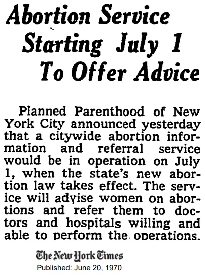 Image: Planned Parenthood announces they will be referring for abortion June 1970