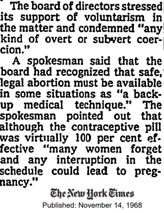 Image: Planned Parenthood first calls for legalizing abortion 1968 (Image: New York Times)