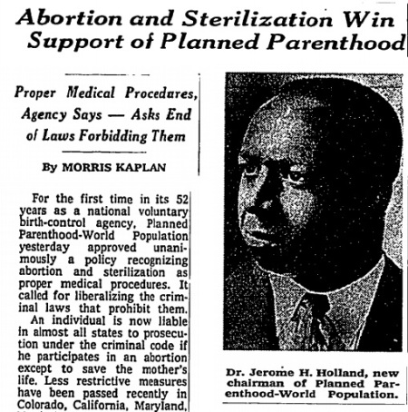 Image: article Planned Parenthood uses Black man to push abortion (Image: New York Times 1968)