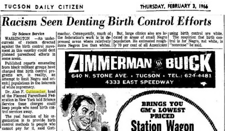 Image: article Racism seen as denting Birth Control 1966