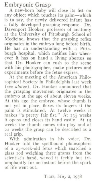 Article: Time Magazine Research on aborted baby 1938
