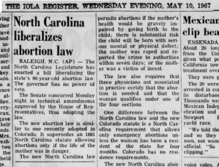 Image: 1967 North Carolina liberalizes abortion laws