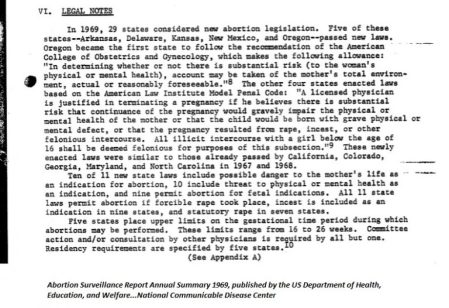 Image: 1969 CDC and HEW report on states that legalized abortion
