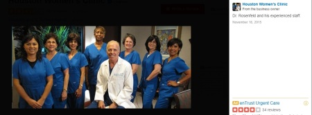 Image: Abortionist Bernard Rosenfeld and the Houston Women's Clinic staff (Image credit: Yelp)