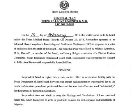 Image: Bernard Rosenfeld complaint Texas Medical Board