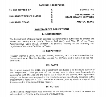 Image: Houston Women's Clinic abortion facility fined twenty thousand dollars by state health department