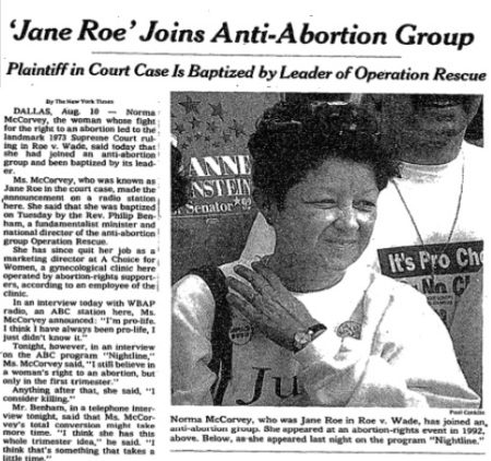 Image: Roe in abortion case joins pro-life groups (Image credit: New York Times 8/11/1995)
