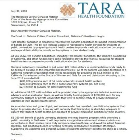 Image: TARA Health Foundation letter to fund abortion pills