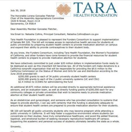 Image: TARA Health Foundation letter to fund abortion pills