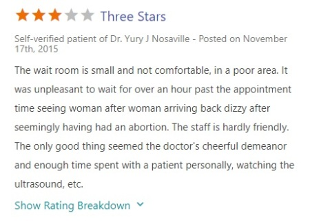 Image: Yury J Nosaville Vitals Review of Houston Women's Clinic abortion