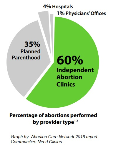 Image: Abortion Care Network graph on abortion percentage by provider type