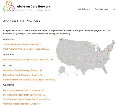 Image: ACN Abortion Care Providers List (Image: Screen from Abortion Care Network taken 11/15/2018)