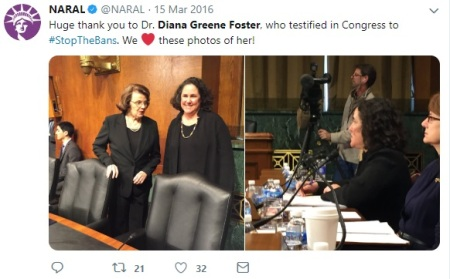 Image: Author Diana G Foster applauded by NARAL 2016 tweet