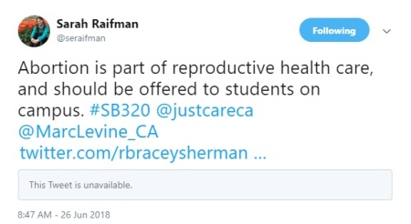 Image: Author Sarah Raifman Tweet June 2018 SB320 (Image: Twitter)