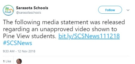 Image: Sarasota County Schools apology for showing graphic Planned Parenthood Vid (Image: Twitter)