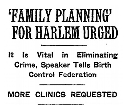 Image: 1942 article urges family planning for Harlem (Image credit New York Times)