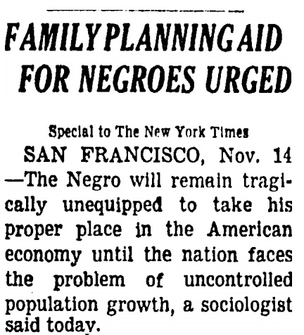 Image: 1963 article urges family planning for Blacks (Image credit New York Times)