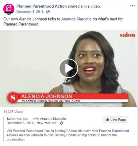 Image: Alencia Johnson Planned Parenthood Action Facebook