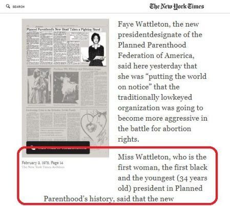 Image: Faye Wattleton first female Planned Parenthood president (Image: New York Times)