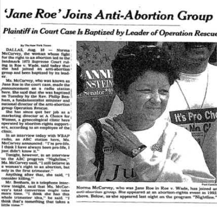 Image: Norma McCorvey who was Jane Roe of Roe v Wade becomes pro-life