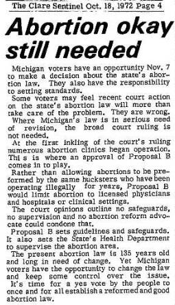 Image: michigan proposal b 1972 on abortion