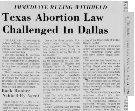 Image: Texas abortion law challenge 1970